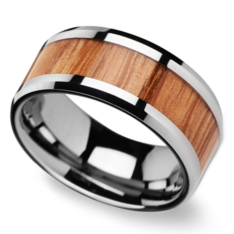 Beveled Men's Ring with Red Oak Wood Inlay in Tungsten (10mm) | 01