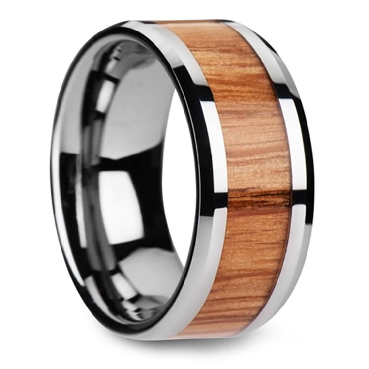 Beveled Men's Ring with Red Oak Wood Inlay in Tungsten (10mm) | 02