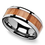 Beveled Men's Ring with Red Oak Wood Inlay in Tungsten (8mm) | Thumbnail 01