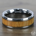 Timber - Beveled Tungsten Mens Band with Red Oak Inlay | Thumbnail 04