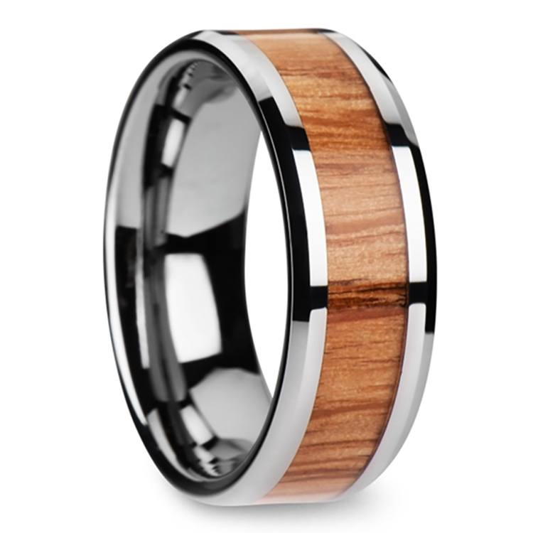 Beveled Men's Ring with Red Oak Wood Inlay in Tungsten (8mm) | 02