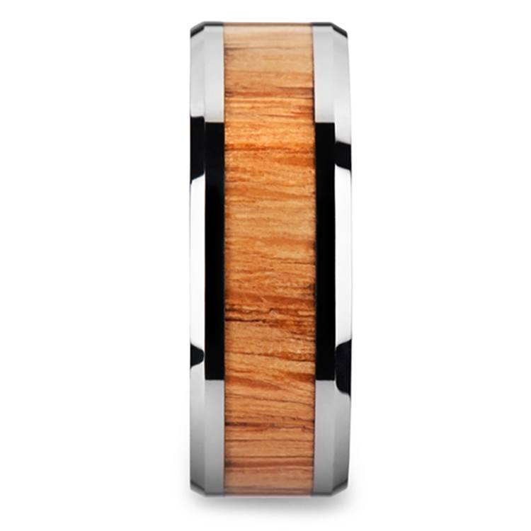Beveled Men's Ring with Red Oak Wood Inlay in Tungsten (8mm) | 03