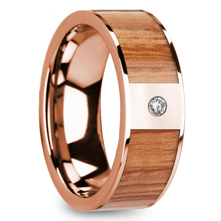 Red Oak Wood Inlay Men's Wedding Band in Rose Gold with Diamond Accent | 02