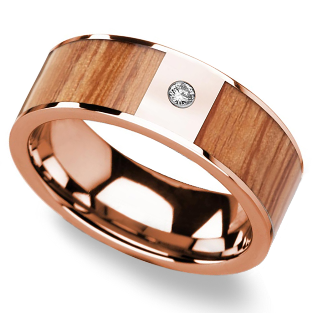 Red Oak Wood Inlay Men S Wedding Band In Rose Gold With Diamond Accent