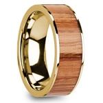 Red Oak Wood Inlay Men's Wedding Ring in Yellow Gold   Thumbnail 02