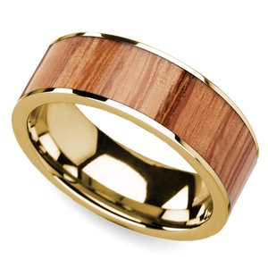 Red Oak Wood Inlay Men's Wedding Ring in Yellow Gold