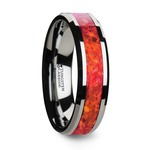 Red Opal Inlay Men's Wedding Ring in Tungsten (6mm) | Thumbnail 02