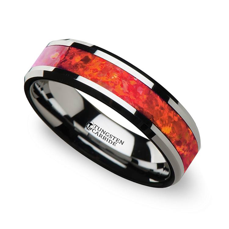 Lava Flow - 6mm Tungsten Mens Band with Red Opal Inlay | 01