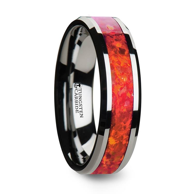 Lava Flow - 6mm Tungsten Mens Band with Red Opal Inlay | 02