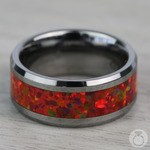 Red Opal Inlay Men's Wedding Ring in Tungsten (8mm) | Thumbnail 04