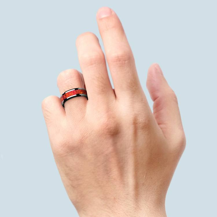 Red Opal Inlay Men's Wedding Ring in Tungsten (8mm) | 04