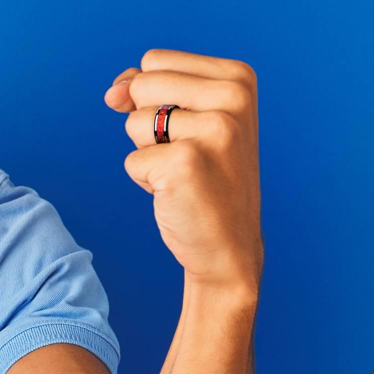 Red Opal Inlay Men's Wedding Ring in Tungsten (8mm) | 05