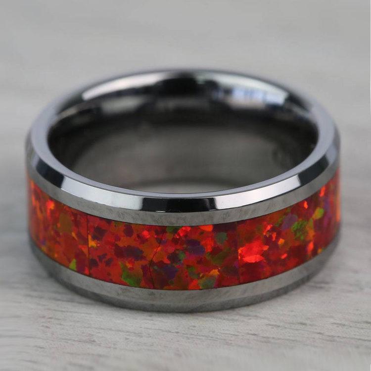 Red Opal Inlay Men's Wedding Ring in Tungsten (8mm) | 06