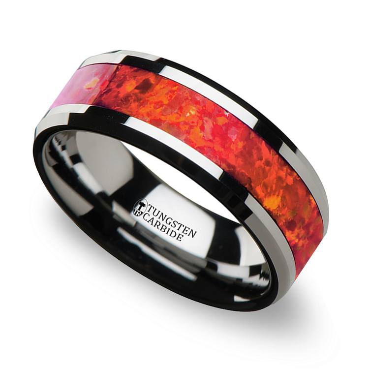 Red Opal Inlay Men's Wedding Ring in Tungsten (8mm) | 01