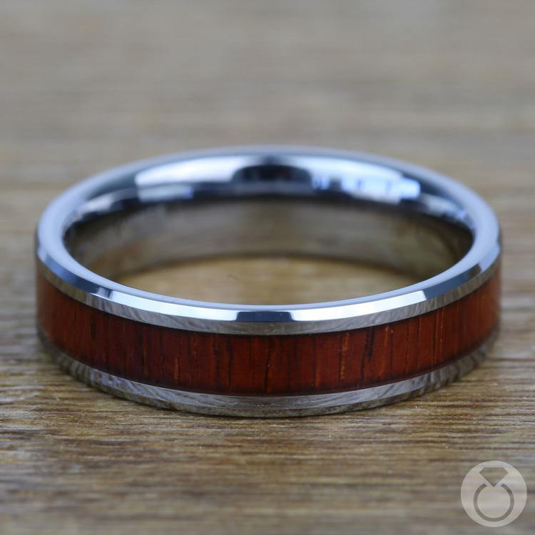 Red Tide - 6mm Tungsten Mens Band with Padauk Real Wood Inlay | 04