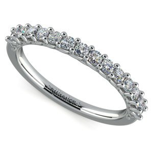 Reverse Trellis Diamond Wedding Ring in Platinum