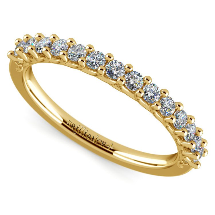 Reverse Trellis Diamond Wedding Ring in Yellow Gold | 01