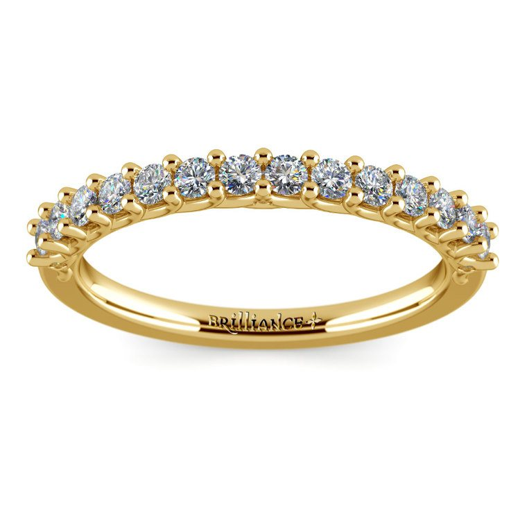 Reverse Trellis Diamond Wedding Ring in Yellow Gold | 02