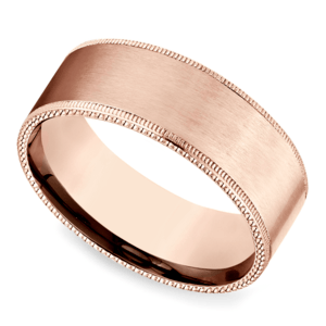 Riveted Edge Satin Men's Wedding Ring in Rose Gold