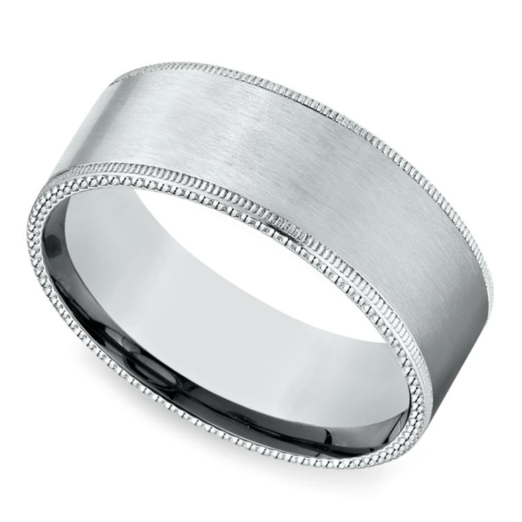 Riveted Edge Satin Men's Wedding Ring in White Gold | 01