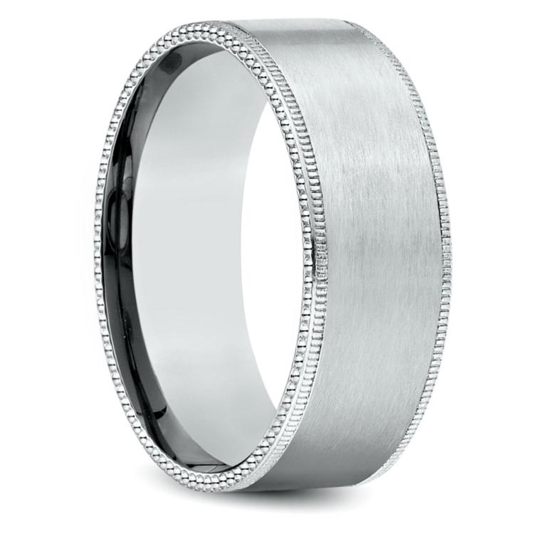 Riveted Edge Satin Men's Wedding Ring in White Gold | 02