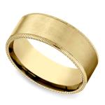 Riveted Edge Satin Men's Wedding Ring in Yellow Gold   Thumbnail 01