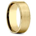 Riveted Edge Satin Men's Wedding Ring in Yellow Gold | Thumbnail 02