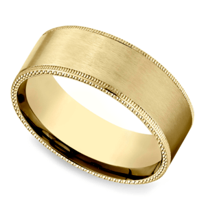 Riveted Edge Satin Men's Wedding Ring in Yellow Gold