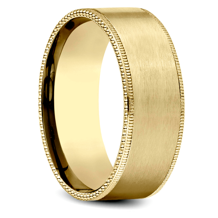 Riveted Edge Satin Men's Wedding Ring in Yellow Gold | 02