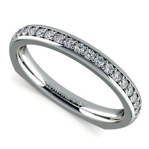 Rocker (European) Diamond Wedding Ring in White Gold