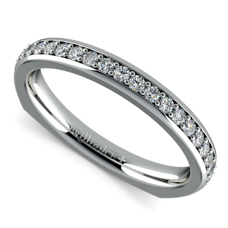 Rocker (European) Diamond Wedding Ring in White Gold | 01