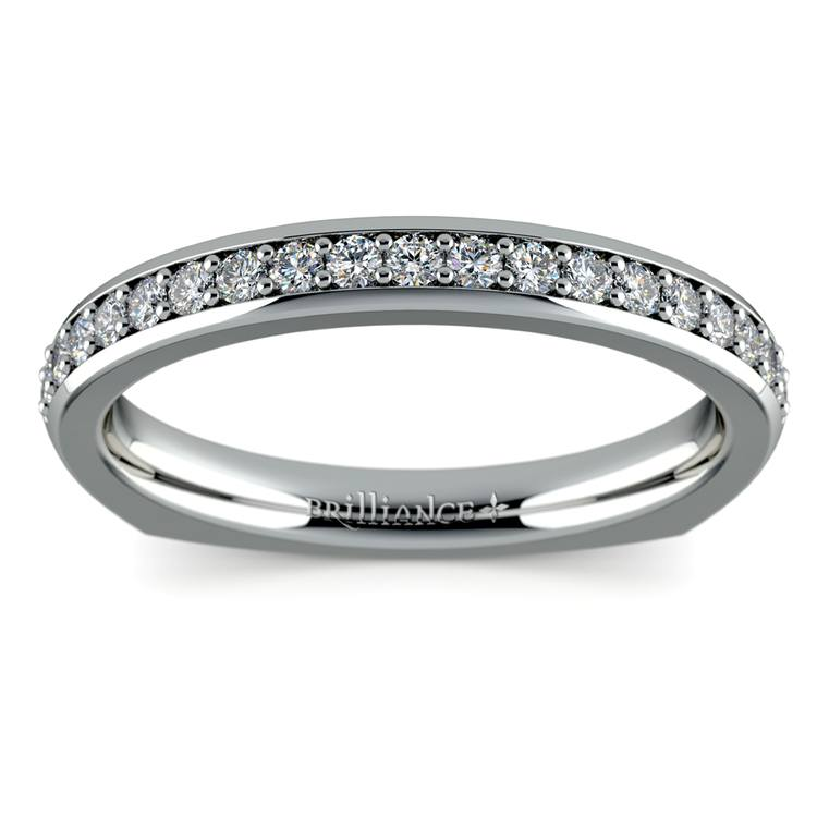 Rocker (European) Diamond Wedding Ring in White Gold | 02
