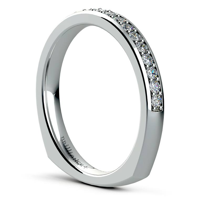 Rocker (European) Diamond Wedding Ring in White Gold | 04