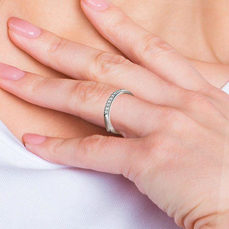 Rocker (European) Diamond Wedding Ring in White Gold | 07