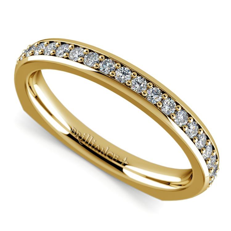 Rocker (European) Diamond Wedding Ring in Yellow Gold | 01