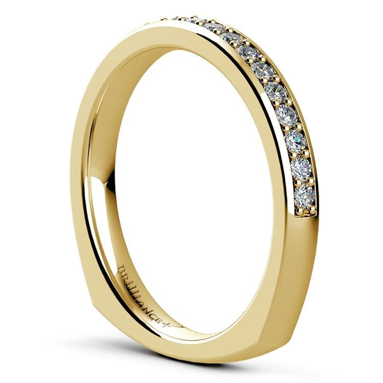Rocker (European) Diamond Wedding Ring in Yellow Gold | 04
