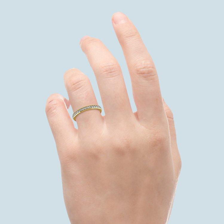 Rocker (European) Diamond Wedding Ring in Yellow Gold   06