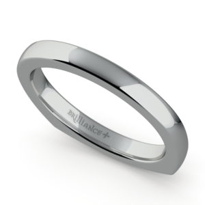 Rocker (European) Wedding Ring in White Gold (2.5mm)