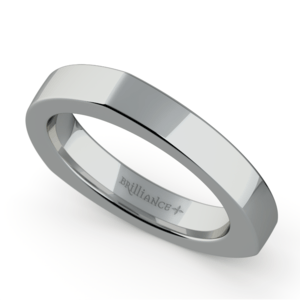 Rocker (European) Wedding Ring in White Gold (3.5mm)