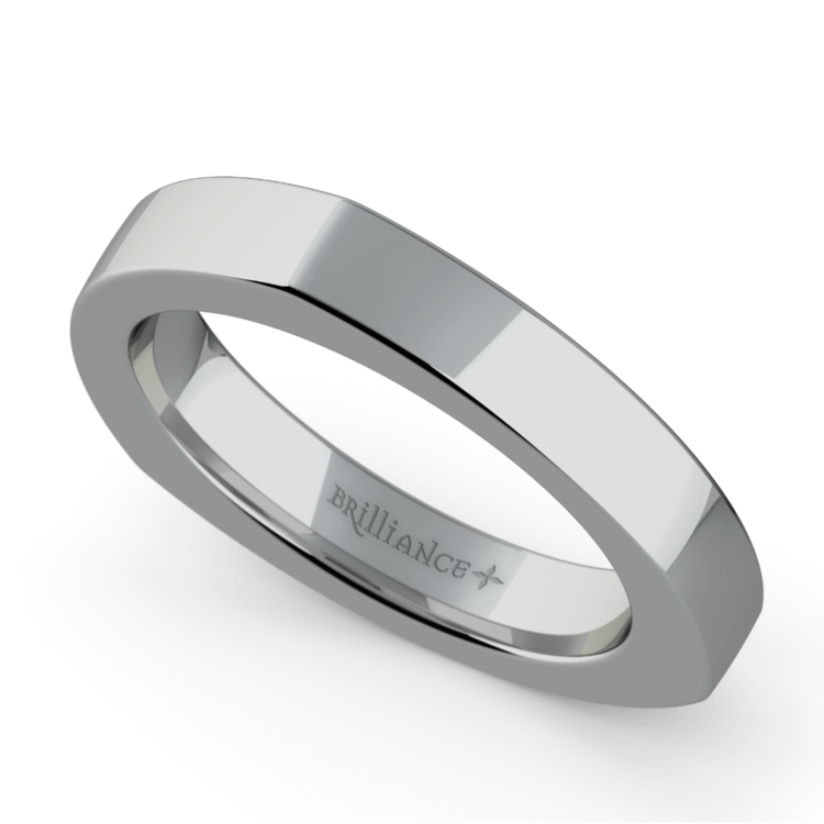 Rocker (European) Wedding Ring in White Gold (3.5mm) | 01