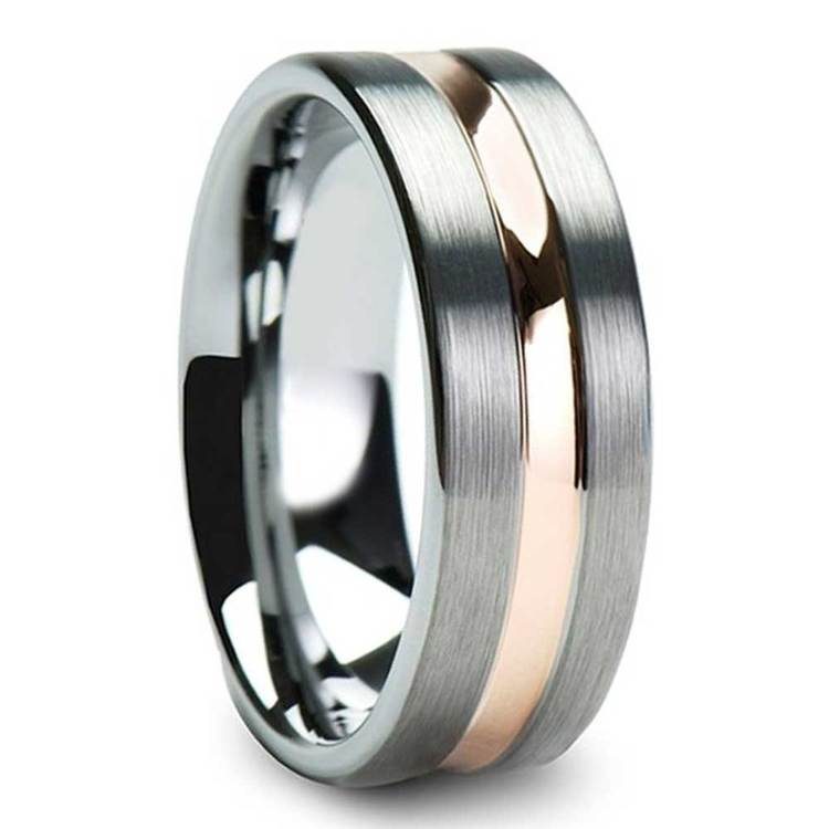 Brushed Tungsten Men's Wedding Ring with Rose Gold Groove (8mm) | 02