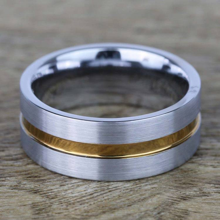 Brushed Tungsten Men's Wedding Ring with Rose Gold Groove (8mm) | 03
