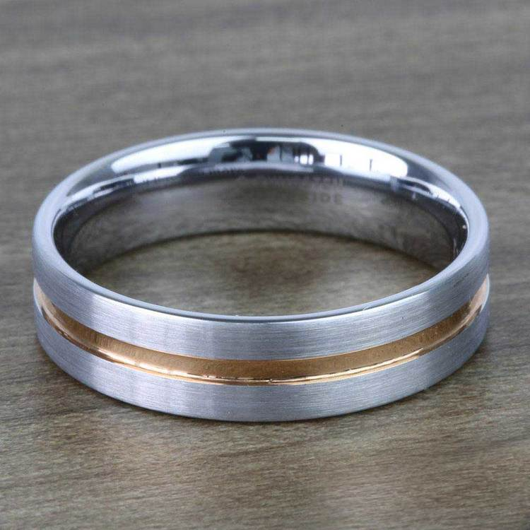 Tungsten Men's Wedding Ring with Rose Gold Groove (6mm) | 04