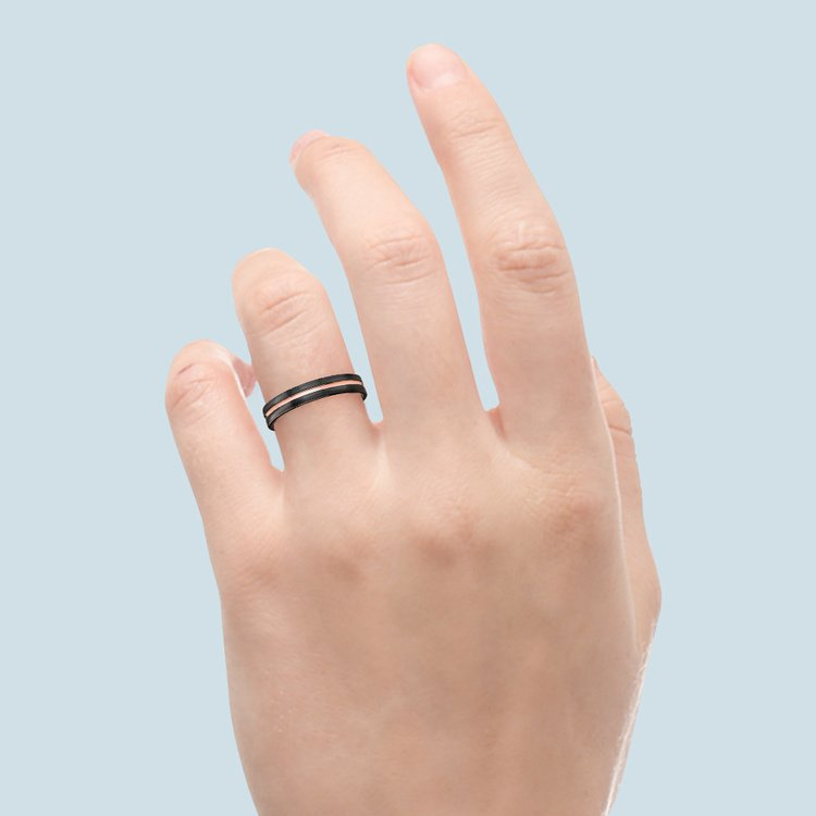 Black Ceramic Wedding Ring with Rose Gold Groove (4mm) | 04