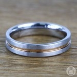 Tungsten Wedding Ring with Rose Gold Groove (4mm) | Thumbnail 06