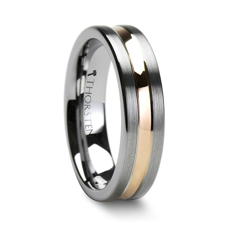 Tungsten Men's Wedding Ring with Rose Gold Groove (6mm) | 02