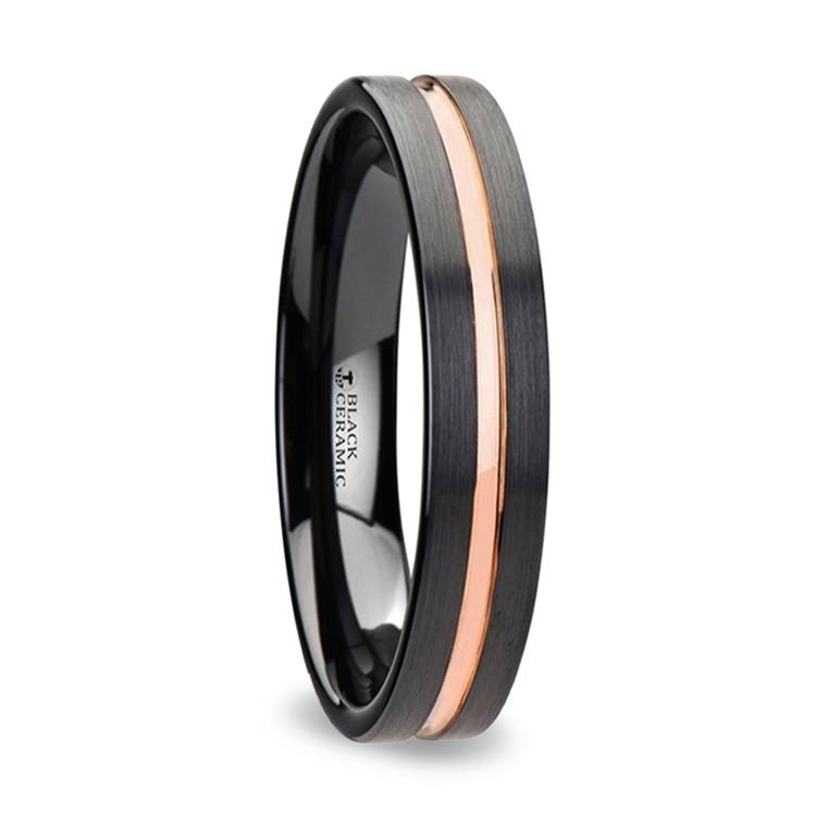 Black Ceramic Wedding Ring with Rose Gold Groove (4mm) | 02