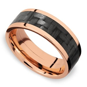 Black Rose - Carbon Fiber & Rose Gold Mens Band