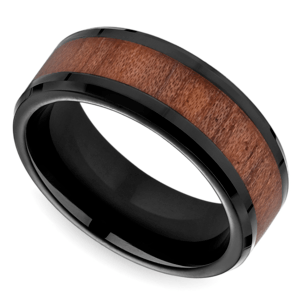 Rosewood Inlay Men's Wedding Ring in Blackened Cobalt