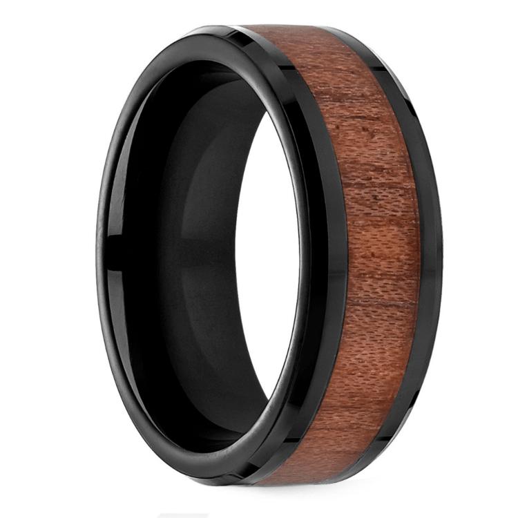 Rosewood Inlay Men's Wedding Ring in Blackened Cobalt   02